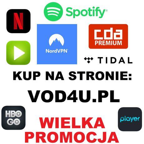 Netflix|Tidal|Hbo Go|Spotify|PLAYER IPLA|VOD4U.PL