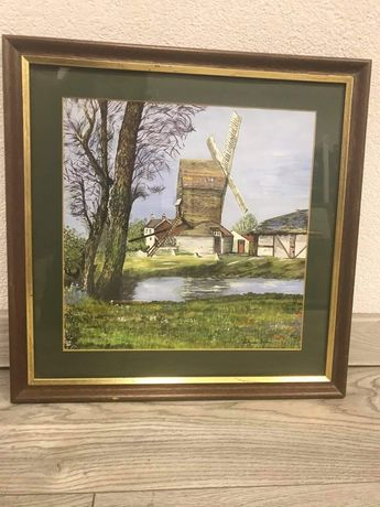 Malowany,sygnowany obraz wiatrak w drewnianej ramie 39,5 na 39,5cm