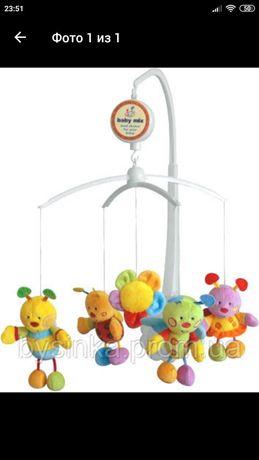 Музыкальная карусель для детской кроватки с мягкими игрушками
