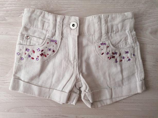 Białe spodenki jeansowe krótkie szorty 98 cm cekiny