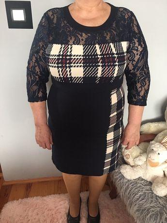 Elegancka Sukienka koronkowa w kratkę 46 rozmiar