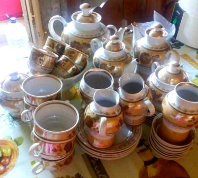 Перламутр, керамика. Винтаж! Набор чайно-кофейный, 39 предм.
