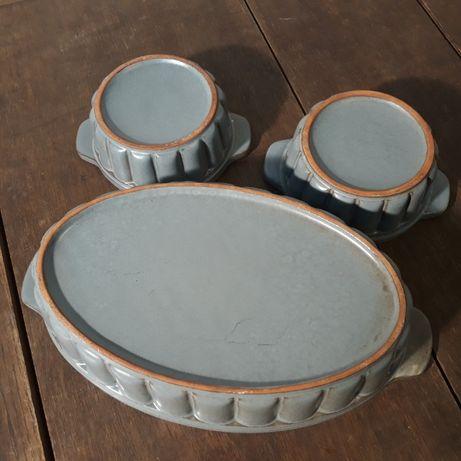 Naczynie ceramiczne, żaroodporne, foremka do pieczenia, niebieskie