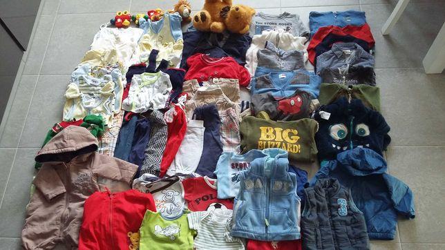 50 szt ubranka chłopięce 0-12 mcy + gratisy