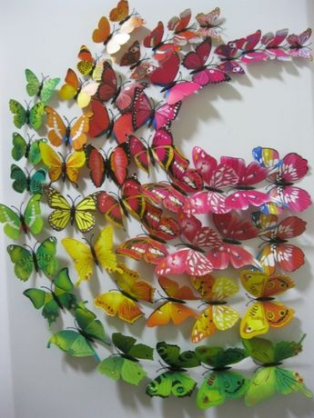 Бабочки 3D для декора на стену , декор, 12 шт