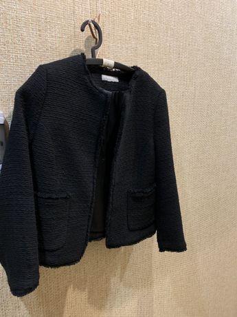 Продаю твидовый пиджак чёрного цвета ZARA