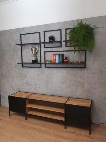 Półka wisząca w stylu industrialnym, loftowym