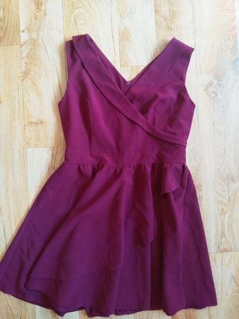 Bordowa sukienka wesele xl