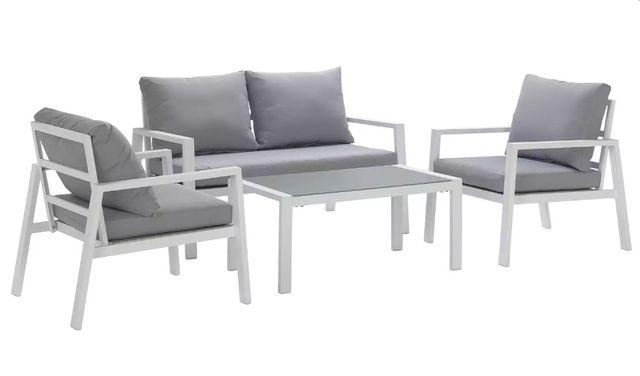 Aluminiowe Białe Meble Ogrodowe SITGES Sofa + 2 Fotele + Stolik kawowy