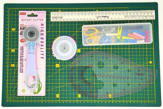 Набор для лоскутного шитья, пэчворка базовый 11 ед., коврик А3, А4
