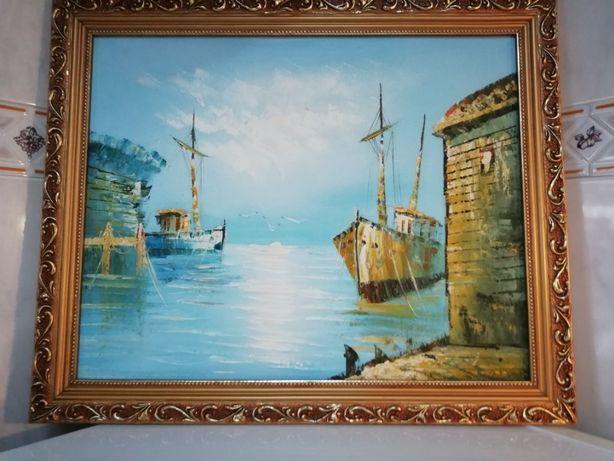 Obra de Arte Quadro a óleo Com Relevo Baía de Pesca de Cascais 1920