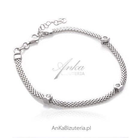 ankabizuteria.pl Bransoletka srebrna rodowana z cyrkoniami Włoska