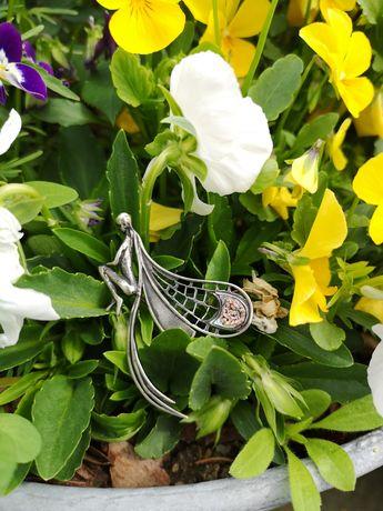 Motyl, ważka srebrna broszka