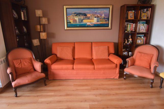 Sofá cama 3 lugares, cor brick - como novo