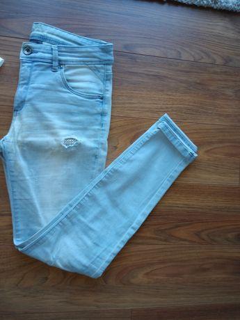 Jeansy dżinsy błękitne denim blues z cyrkoniami