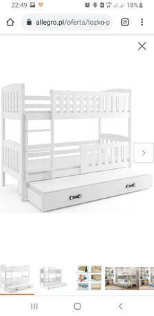 Łóżko piętrowe z szufladą, trzyosobowe