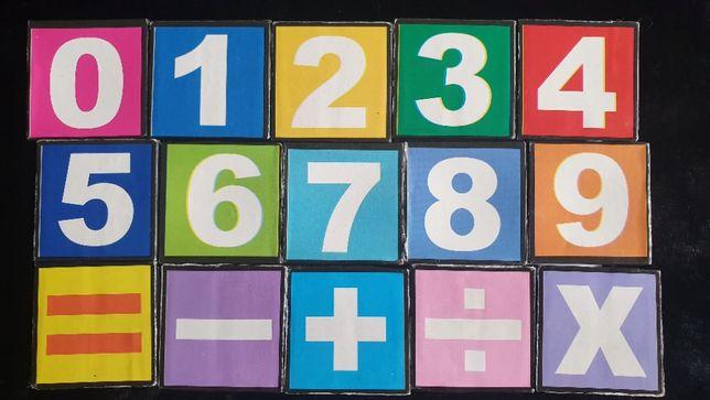 15 Cubos para criança com números, letras e palavras em inglês
