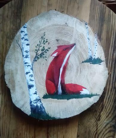 Obraz/Lis na plastrze drewna/drewnie/handmade