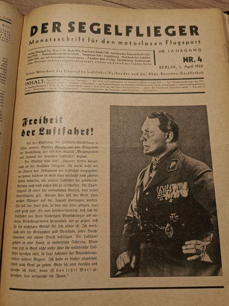 Niemieckie czasopismo lotnicze DER SEGELFLIEGER 1933 rok