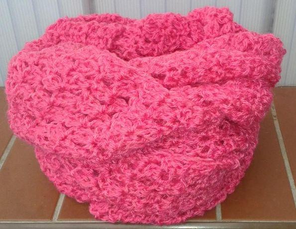 Szal komin różowy,rękodzieło28x180 cm