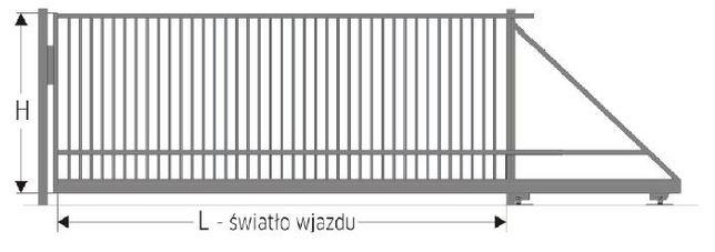 Brama przesuwna 1,5x4m profil pionowy 15x15mm oc ral KOMPLETNA
