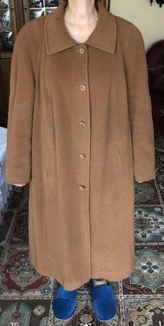 damski wełniany płaszcz zimowy z dodatkiem angory