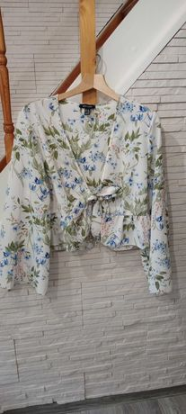 Bluzka new look w kwiaty wiązana kopertowa wrap