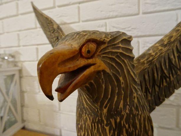 Piękna rzeźba orzeł drewno Bieszczady