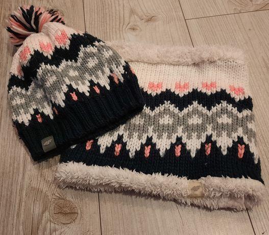 Super zestaw zimowy czapka+komin 4F dla dziewczynki r.122-140cm