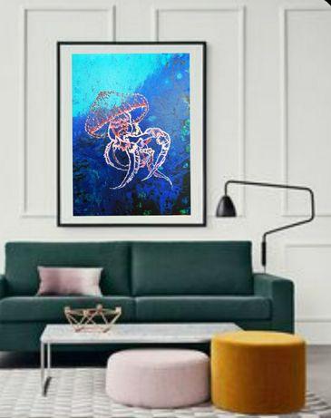 Картина Медуза с люминофором,интерьерная картина на холсте