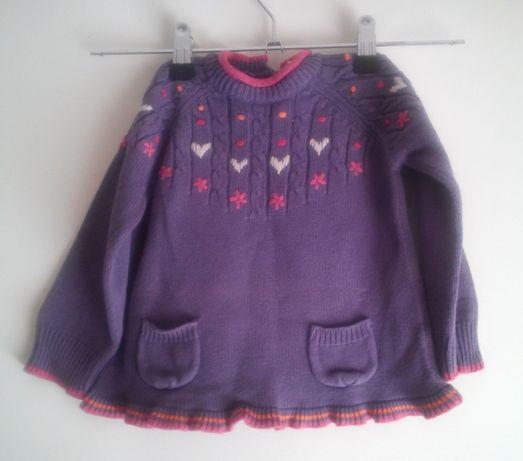 Camisola de malha roxa de menina Tam.18M