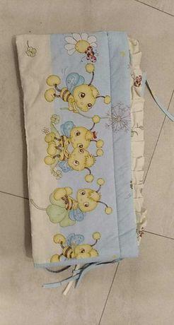 Zestaw pościeli i ochraniacz do łóżeczka niemowlęc.-pszczółki+GRATIS