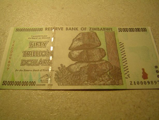 50 trylionów $ ZIMBABWE - seria ZA - banknot zastępczy - srebrny pasek