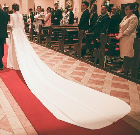 Suknia Ślubna, koronka, długi tren
