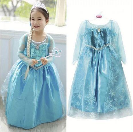 Sukienka kostium przebranie Elsa Kraina lodu NOWA 100 cm