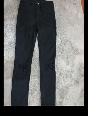Czarne Jeansy skinny divided H&M wysoki stan przetarcia Nowe Hit