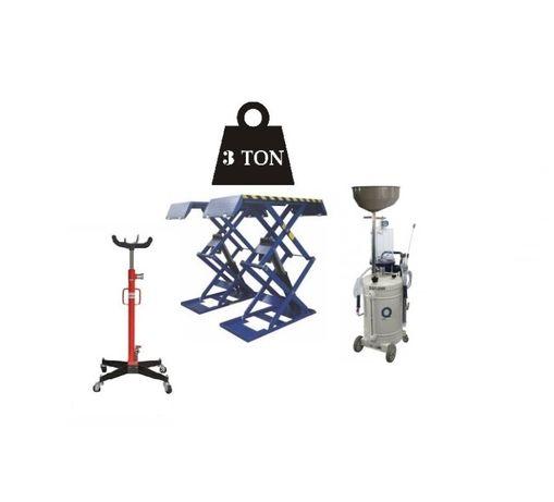 Elevador de tesoura + macaco de fossa e aspirador de óleo disponível