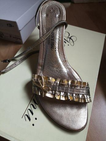 Sandałki skórzane złoto srebrne