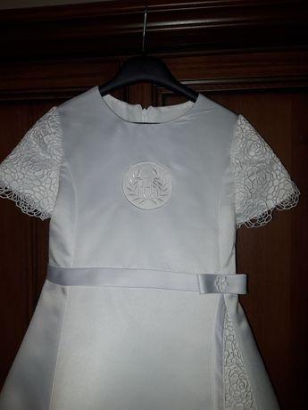 Piękna Sukienka Komunijna Suknia Komunia gipiura koronka długa na kole