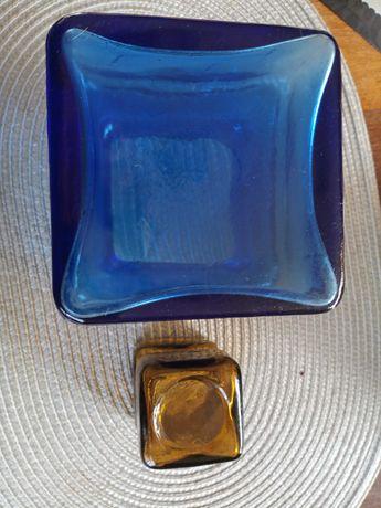 Stare kolorowe szkło szweckie  wazonn świecznik niebieskie miodowe