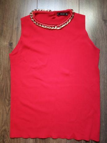 Zara Knit czerwona bluza bez rękawów z łańcuchem
