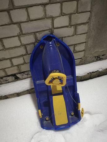 Детские Санки Сани Снегоход Снегокат с рулем и тормозом