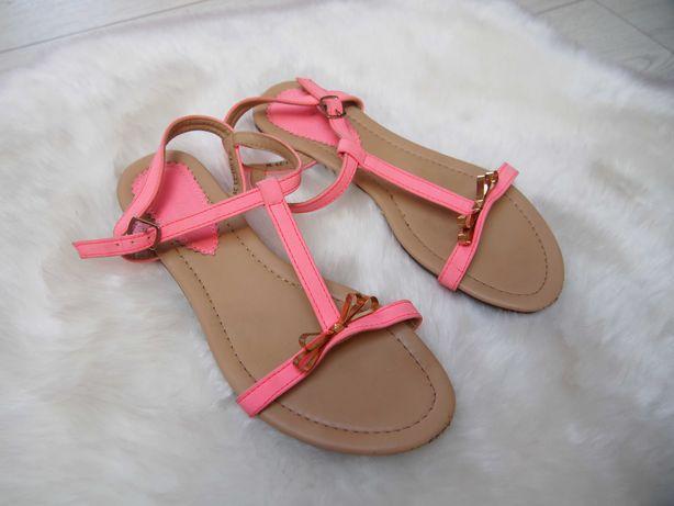 Neonowe sandaly kokardki rozowe 36 37