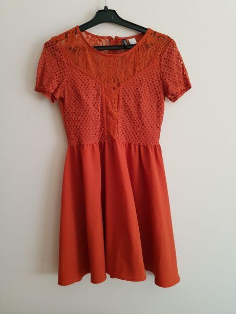 H&M sukienka pomarańczowa krótka koronka S M 38