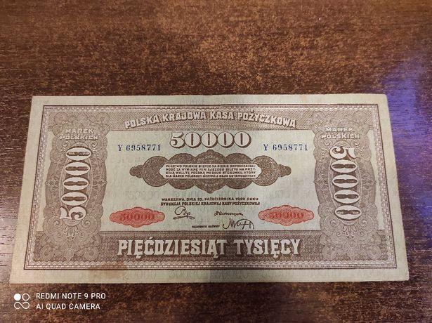Banknot 50 000 marek polskich , stare pieniądze