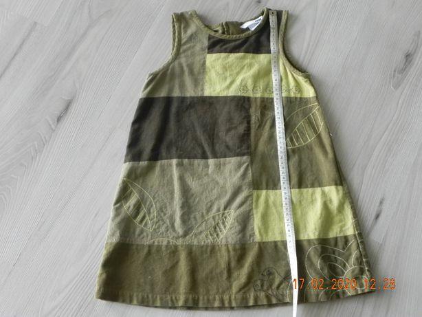 sukienka sztruksowa h&m 110 zielona khaki
