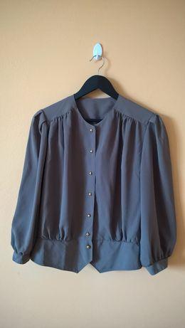Bluzka koszulowa / koszula – khaki, vintage, retro (r. 40 / 42 / 44)