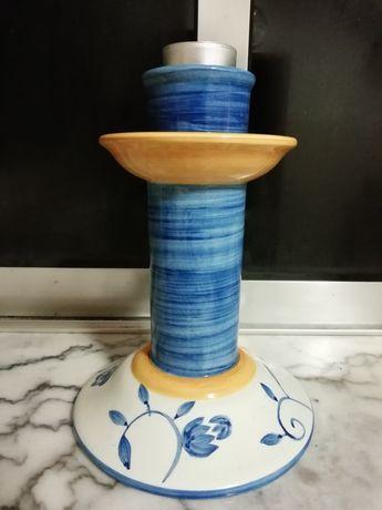 Castiçal decorativo para vela pintado à mão