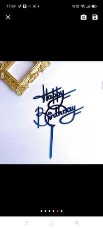 Urodzinowy Topper akrylowy czarny na tort