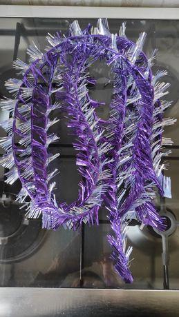 Дождик на елку новогодний сиренево-фиолетовый(СССР), серебристый (ГДР)